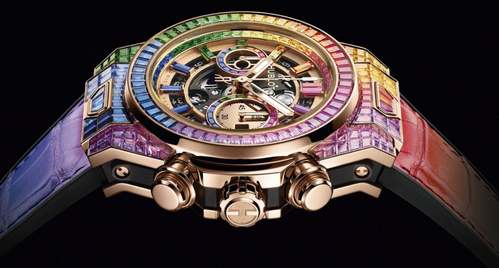 Hublot Big Bang Unico Full Baguette King Gold Rainbow Replica